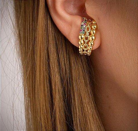 Ear Hook Bolinhas e Zircônias Coloridas