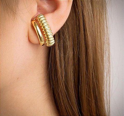 Brinco Ear Hook Duplo Banhado à Ouro 18k
