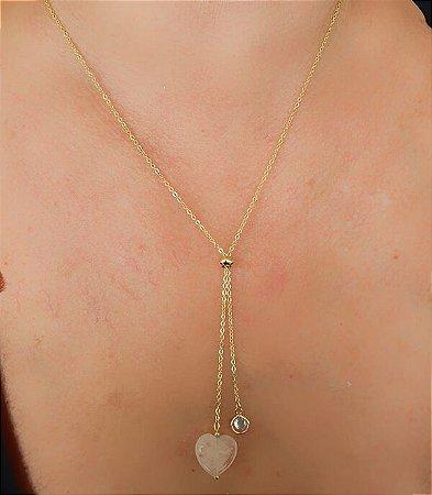 Colar Gravatinha Coração Quartzo Rosa e Zircônia Branca