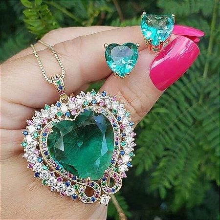 Conjunto Colar e Brinco Coração Pedra Verde Turmalina