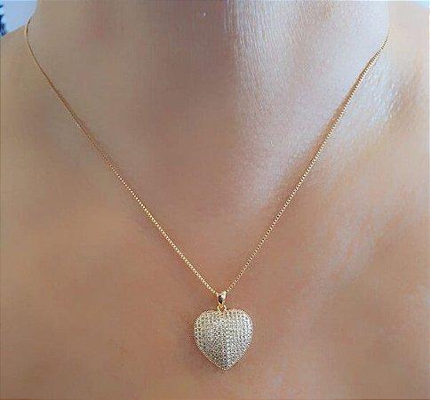 Colar Pingente Coração Cravejado banhado Ouro Rosê