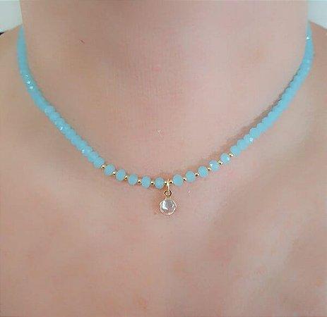 Gargantilha Cristal Azul Claro e Ponto de Luz