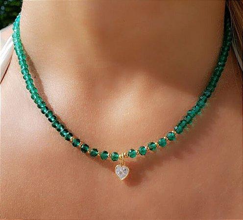Choker de Cristal Verde e Zircônia de Coração