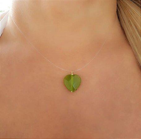 Colar Invisível Coração Quartzo Verde