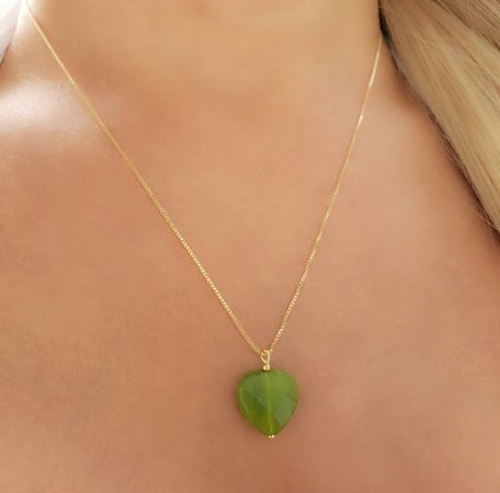 Colar Pingente Coração Quartzo Verde