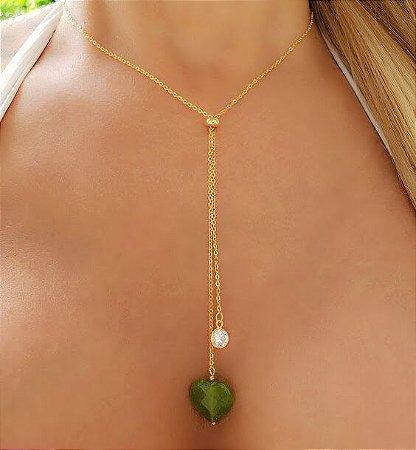 Colar Gravatinha Coração Quartzo Verde e Zircônia Branca