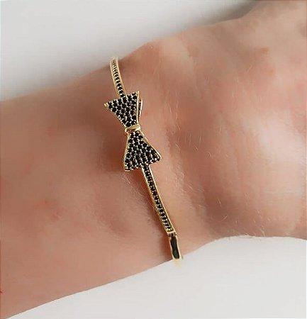 Bracelete de Laço Zircônias Negra