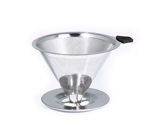 Coador De Café Filtro Permanente Pour Over Aço Inox Bialetti