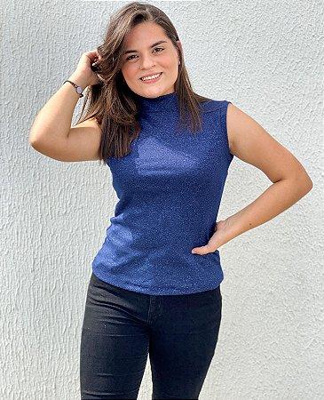 Blusinha Gola Alta Azul Mescla