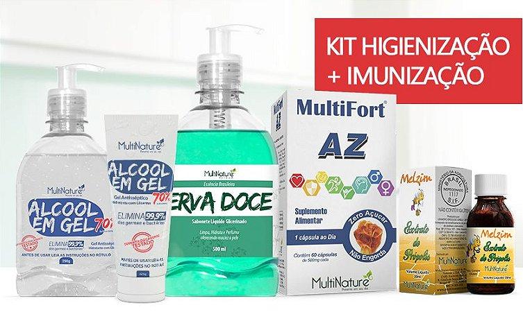 KIT  - Sab Liq 500Ml Erva Doce/Glicerina C/Valv + Alcool gel C/Valv 290g + Alcool gel bisnaga 60g + MultiFort AZ 60caps + Extrato de Propolis 30ml