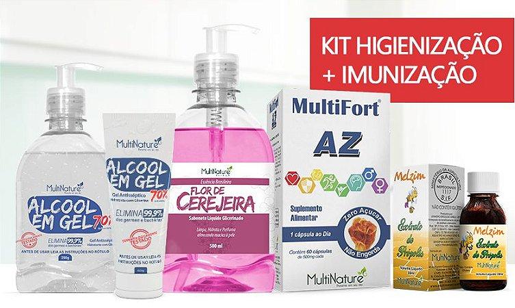 KIT  - Sab Liq 500Ml Flor de Cerejeira/Glicerina C/Valv + Alcool gel C/Valv 290g + Alcool gel bisnaga 60g + MultiFort AZ 60caps + Extrato de Propolis 30ml