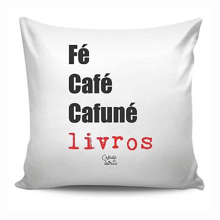 Almofada Literária Fé, Café, Cafuné e Livros