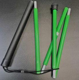 Bengala dobrável verde para baixa visão