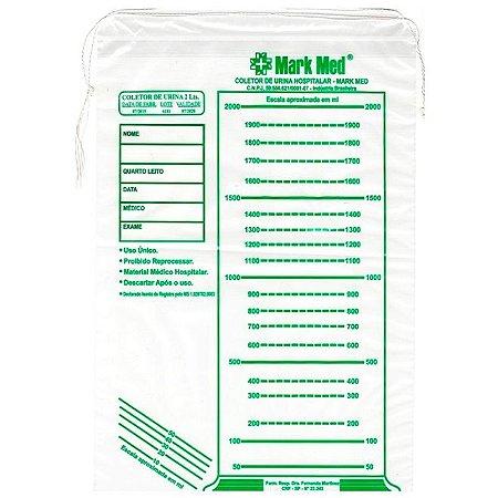 Coletor de urina adulto tipo saco (com cordão) de 2 Litros - MEDK LT 819 (Pacote com 100 unidades)