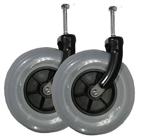 """Rodas com pneus maciços aro 8"""" e garfo - Par"""