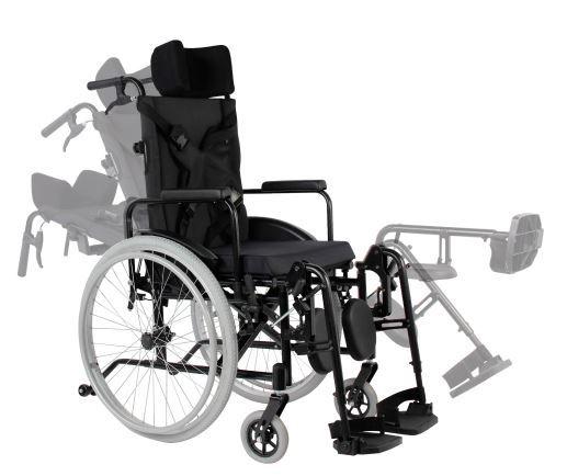 Cadeira de Rodas Reclinável MA3R - PRETO - 44 cm