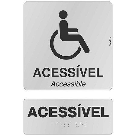 Kit placas alumínio em braille - ACESSÍVEL