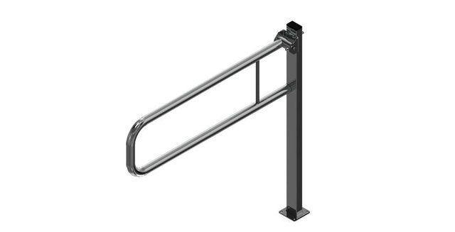 Barra de apoio articulada com pedestal - INOX