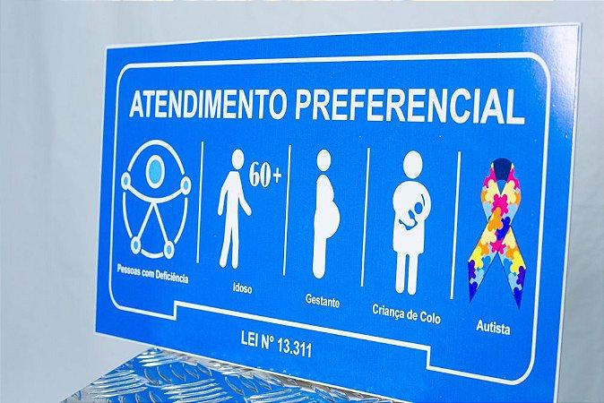 Placa Atendimento Prioritário Autismo 35x21 cm Chapa 2 mm