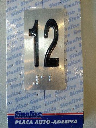 Placa em Alumínio em Braille para Andares  12