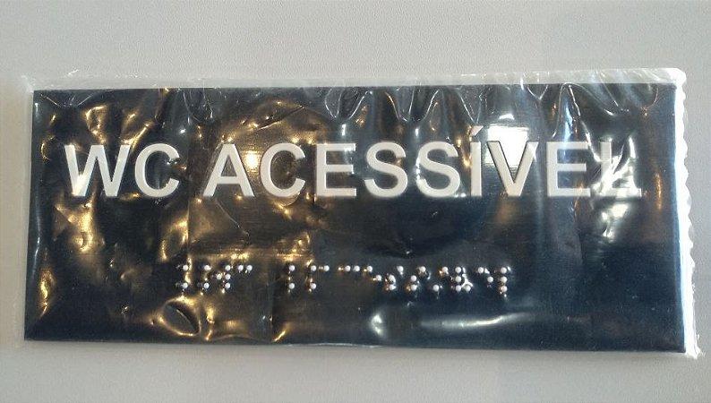Placa em braille - W.C ACESSÍVEL