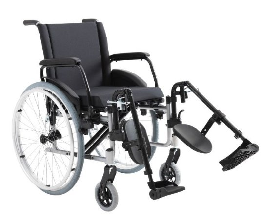 Cadeira de Rodas  K2  L:48/P:40/A:40 com apoio de pés eleváveis - Preta