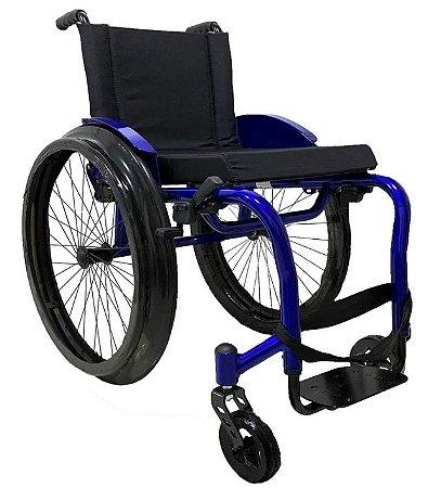Cadeira de Rodas Monobloco MB4 - VERMELHA - 42 cm - com Apoio de Braço Tubular