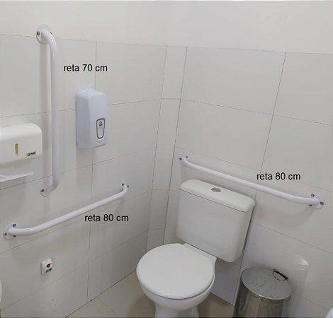 Kit Barras de Apoio para Banheiro  - 2 Retas de 80 cm + 1 Reta de 70 cm