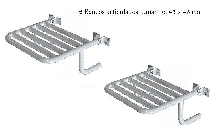 2 Bancos Articulados em aço carbono 45 X 45 cm para banheiro PNE