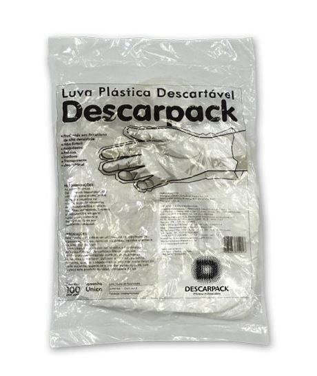 5 Pacotes de Luva Plástica Descartável Tamanho Único - DESCARPACK