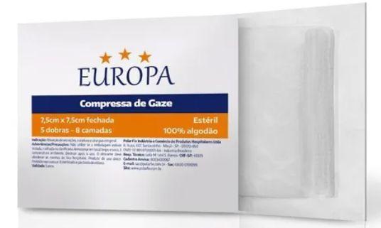 5 PACOTE DE COMPRESSA DE GASES 7,5 X 7,5  11F  ESTERIL