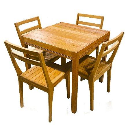 Conjunto de mesa + 4 cadeiras slim - Angelim Pedra