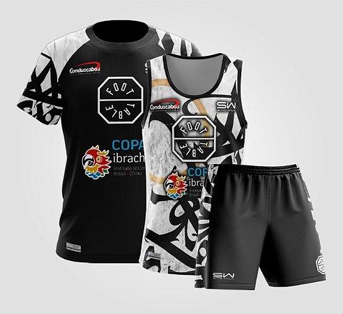 Kit Masculino | Camiseta, Regata e Shorts | Foot Table São Paulo | Preto e Branco