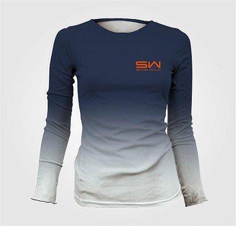 Camisa Térmica Feminina | Manga Longa | Azul e Branca