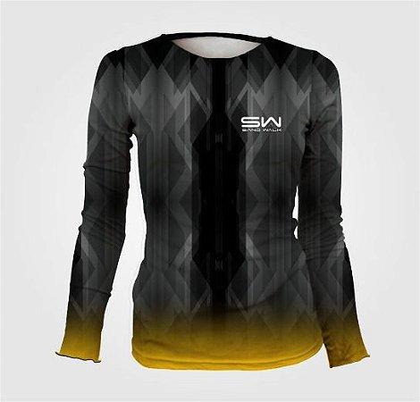 Camisa Térmica Feminina | Manga Longa | Geometric Preta