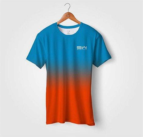 Camiseta Beach Tennis | Manga Curta | Azul e Laranja