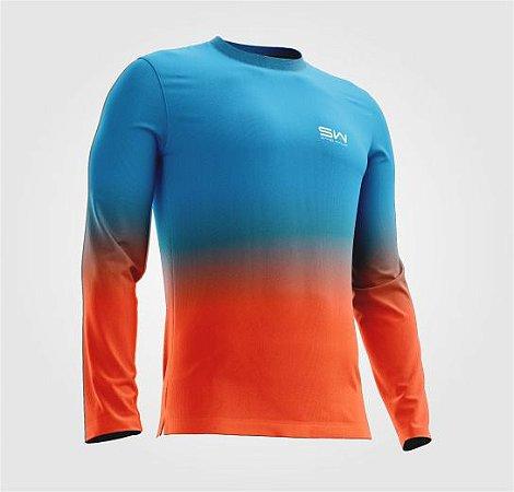 Camisa Térmica   Manga Longa   Beach Tennis  Azul e Laranja