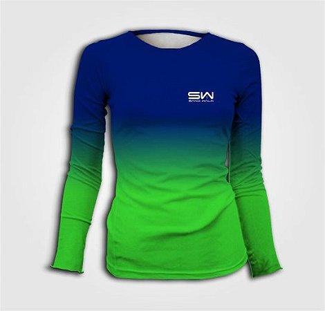 Camisa Térmica Feminina | Manga Longa | Beach Tennis | Azul e Verde