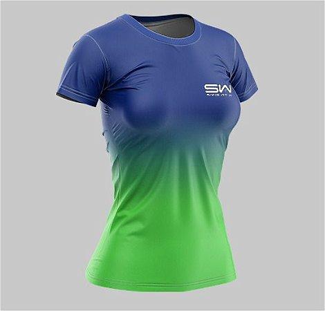 Camiseta Feminina | Beach Tennis | Azul e Verde