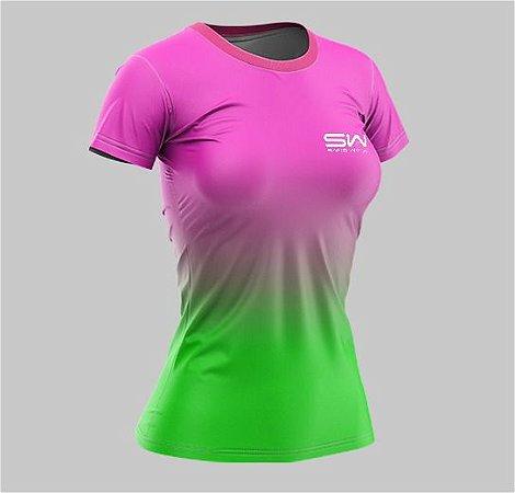 Camiseta Feminina | Beach Tennis | Rosa e Verde