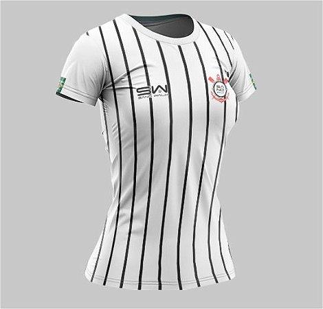 Camiseta Feminina | Coleção Manto | Listrada Preta e Branca
