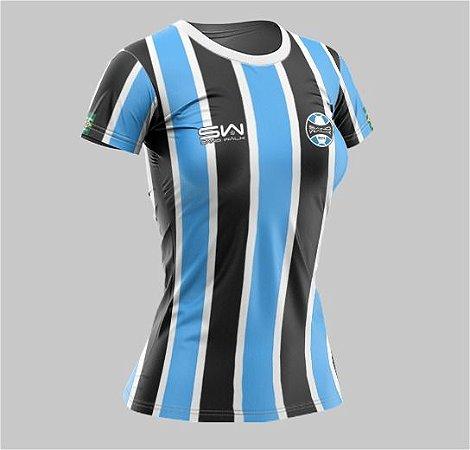 Camiseta Feminina   Coleção Manto   Preta e Azul