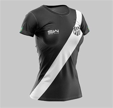 Camiseta Feminina | Coleção Manto | Preta com Listra