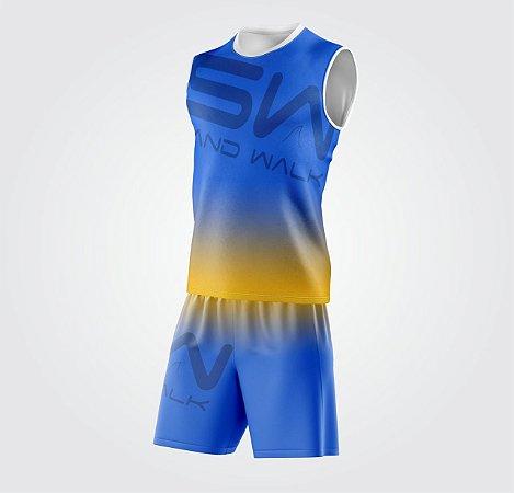 Conjunto Regata e Shorts | Coleção #todosjuntos | Azul e Amarelo