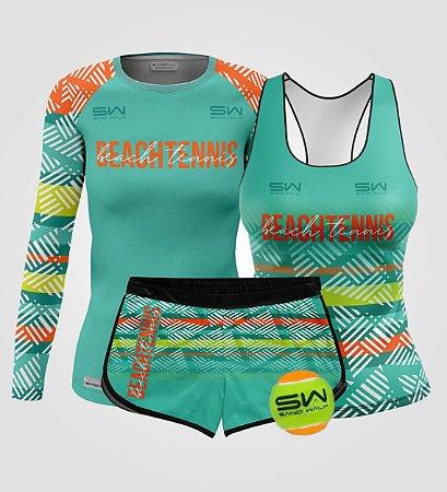 Kit Feminino | Beach Tennis | Manga Longa, regata, shorts e bola | Coleção Voleio