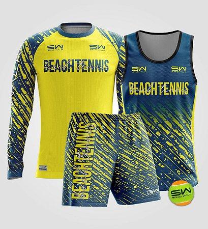 Kit Masculino   Beach Tennis   Manga Longa, regata, bermuda e bola   Coleção Drop Shot