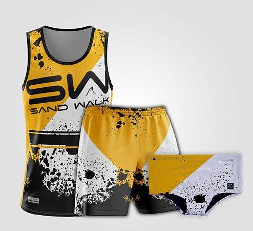 Kit de Aniversário Sand Walk | Masculino | Regata, shorts e sunga | Attack Yellow