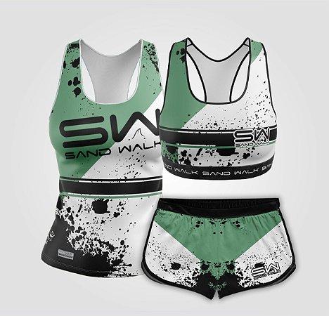 Kit de Aniversário Sand Walk | Feminino | Regata, shorts e top | Attack Green