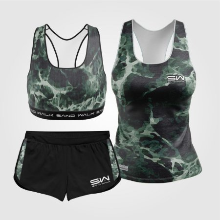 Kit de Aniversário Sand Walk | Feminino | Regata, shorts e top | Militar