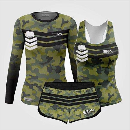 Kit Feminino | Manga Longa, regata e shorts | Militar 2.0